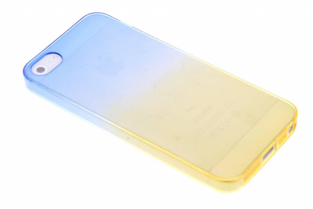 Blauw/geel tweekleurig transparant TPU siliconen hoesje voor de iPhone 5 / 5s / SE