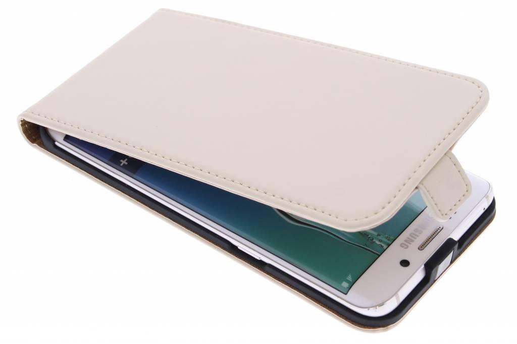 Selencia Luxe Flipcase voor de Samsung Galaxy S6 Edge Plus - Gebroken wit