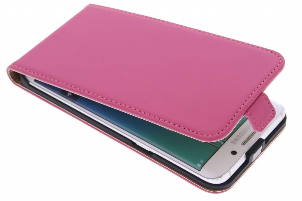 Selencia Luxe Flipcase voor de Samsung Galaxy S6 Edge Plus - Fuchsia
