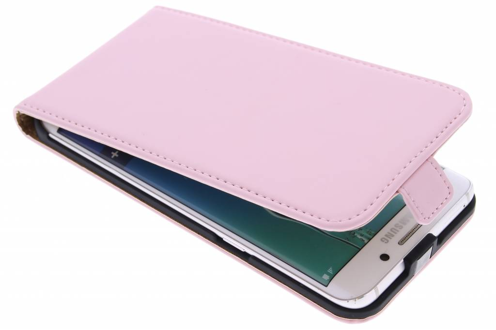 Selencia Luxe Flipcase voor de Samsung Galaxy S6 Edge Plus - Poederroze