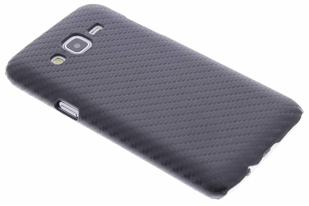 Zwarte carbon look design hardcase hoesje voor de Samsung Galaxy J5