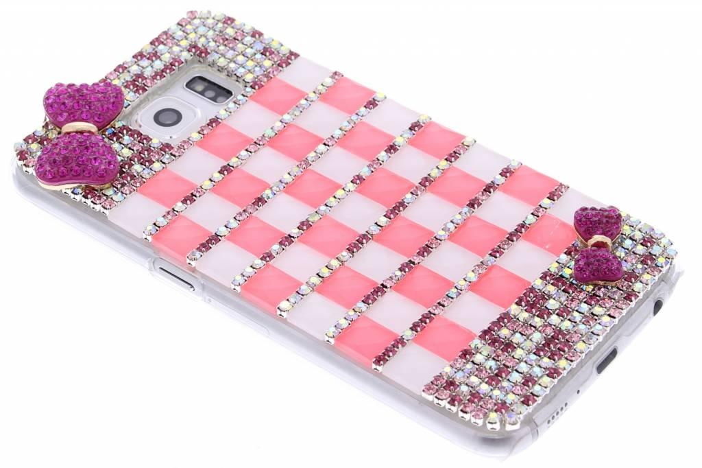 Roze glazen strass hardcase hoesje voor de Samsung Galaxy S6