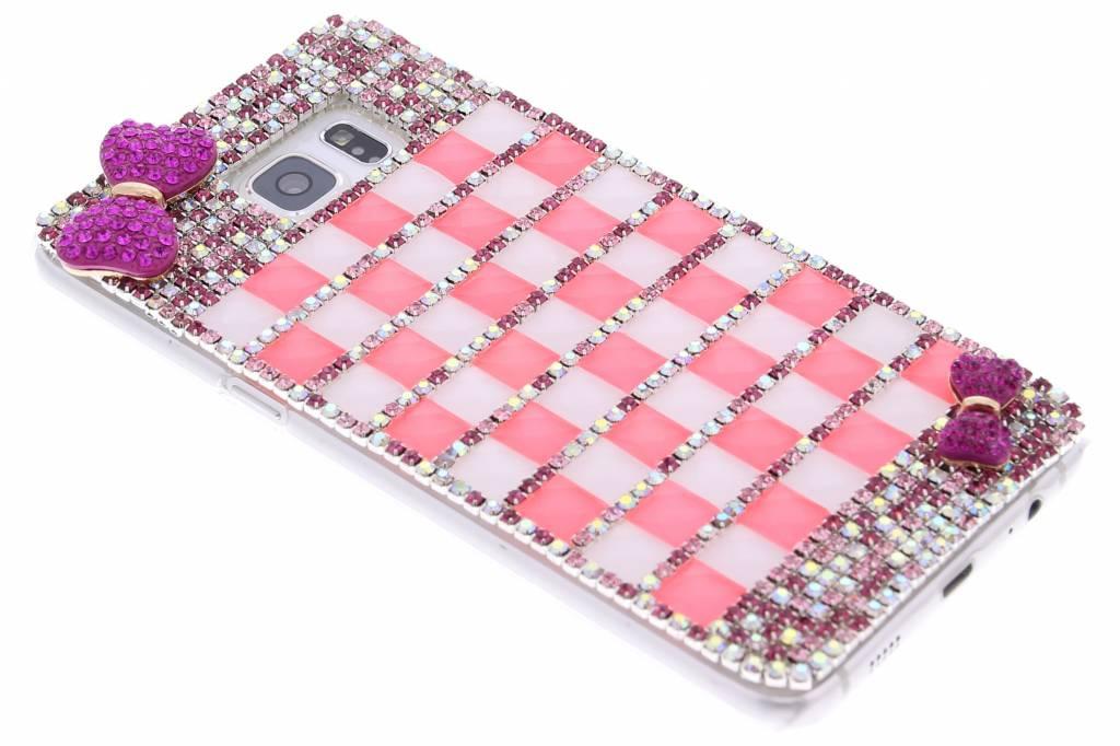 Roze glazen strass hardcase hoesje voor de Samsung Galaxy S6 Edge