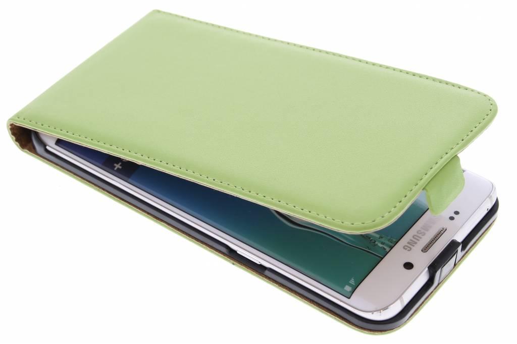 Groene luxe flipcase voor de Samsung Galaxy S6 Edge Plus