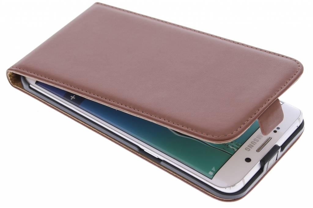 Bruine luxe flipcase voor de Samsung Galaxy S6 Edge Plus