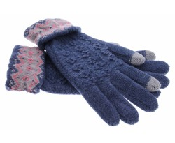 Blauw gebreide touchscreen handschoenen