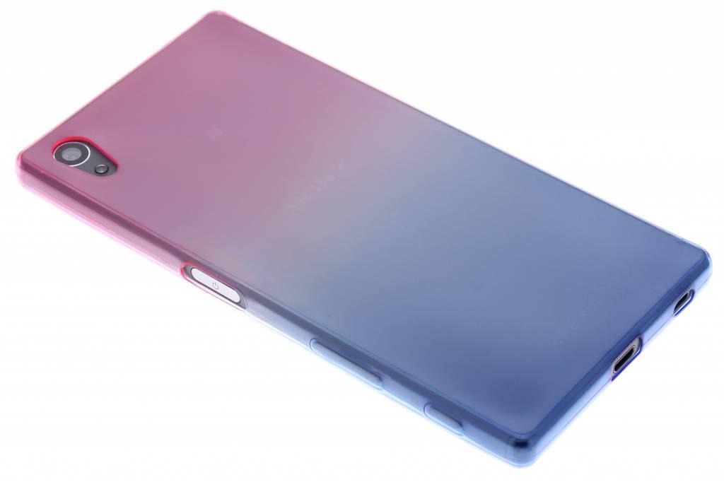 Roze/blauw tweekleurig TPU siliconen hoesje voor de Sony Xperia Z5