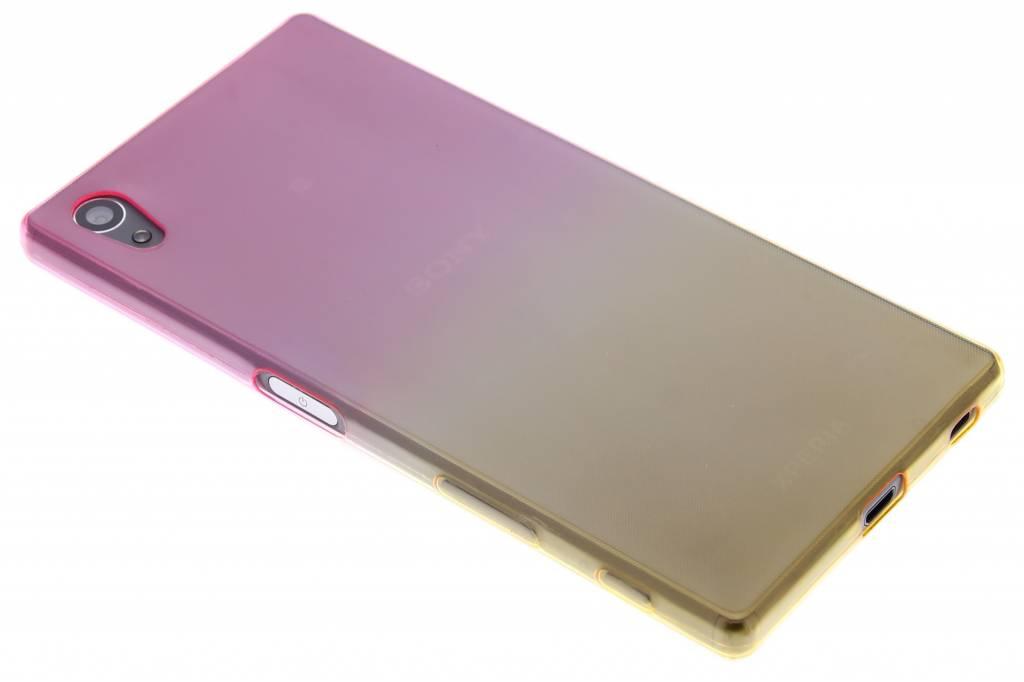 Roze/geel tweekleurig TPU siliconen hoesje voor de Sony Xperia Z5