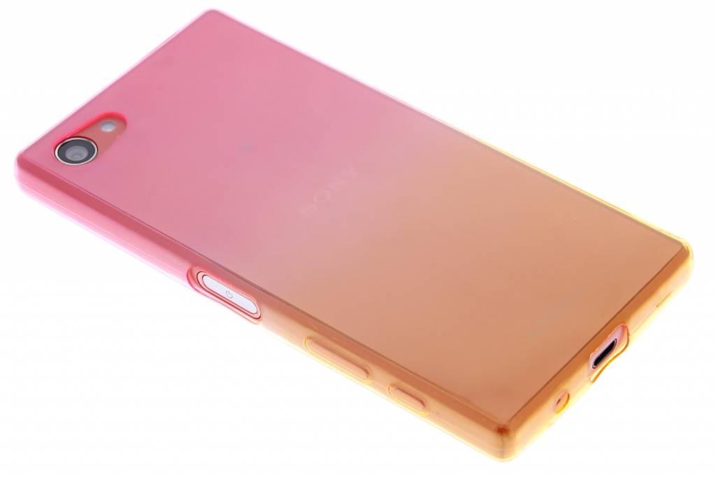 Roze/geel tweekleurig TPU siliconen hoesje voor de Sony Xperia Z5 Compact