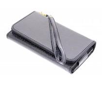 Zwart universeel glitter portemonnee hoesje maat S