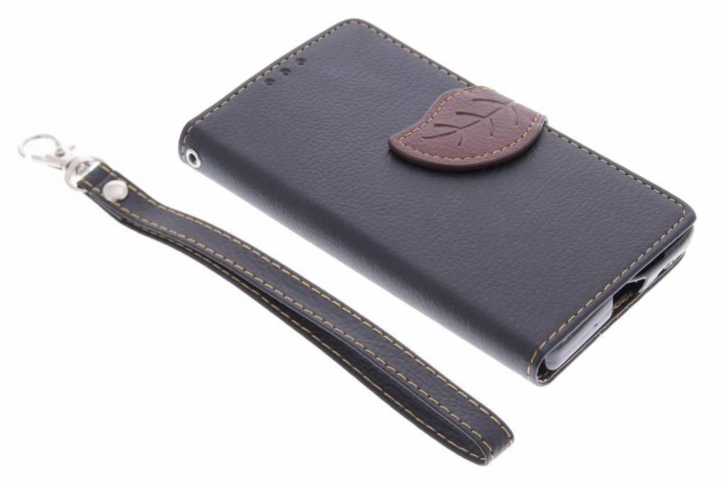 Zwarte blad design TPU booktype hoes voor de Sony Xperia Z5 Compact