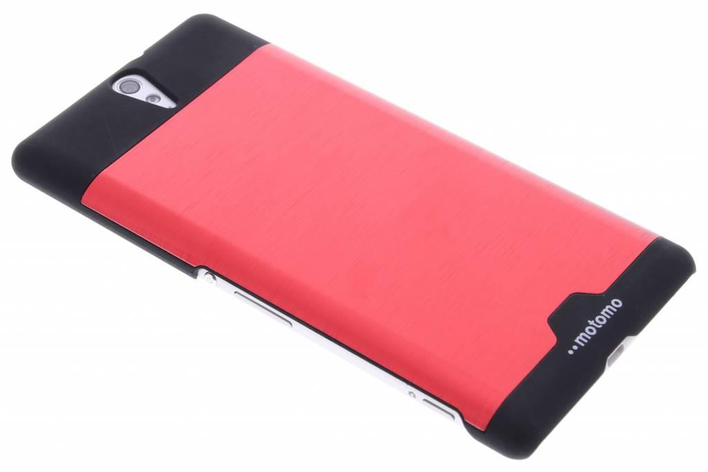 Rood brushed aluminium hardcase hoesje voor de Sony Xperia C5 Ultra