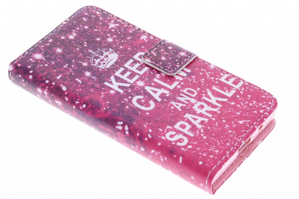 Keep Calm and Sparkle design TPU booktype hoes voor de Sony Xperia Z5 Compact