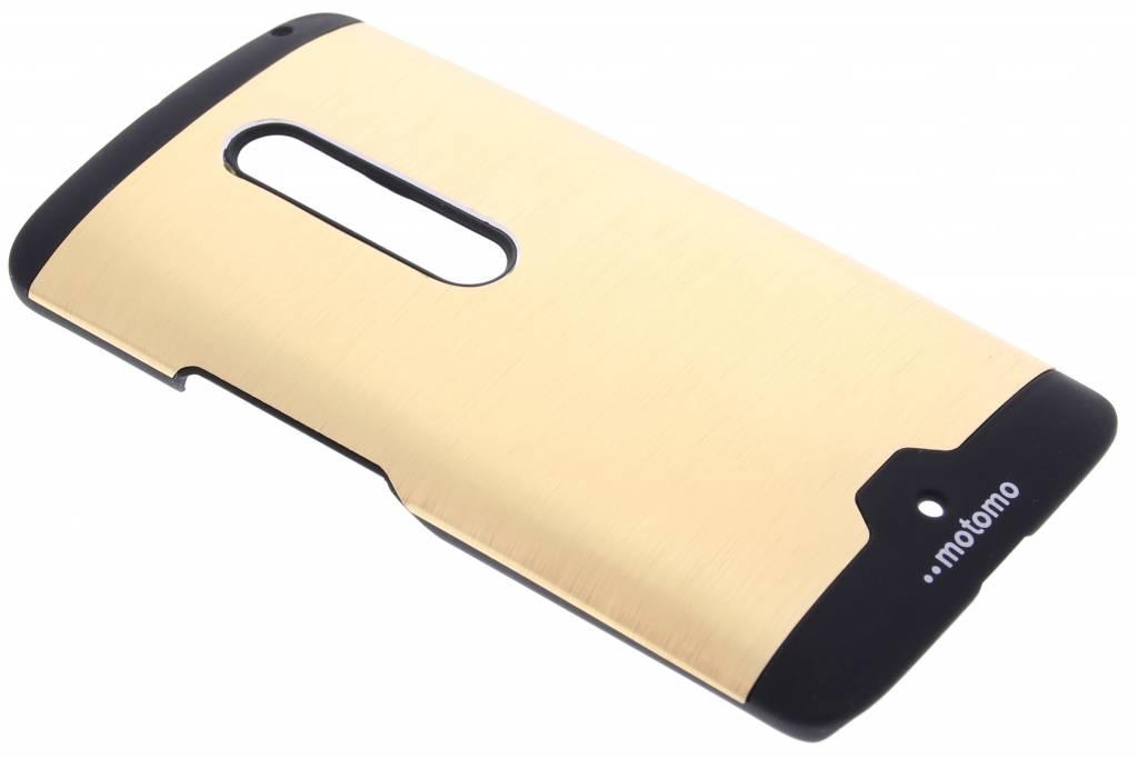 Goud brushed aluminium hardcase hoesje voor de Motorola Moto X Play