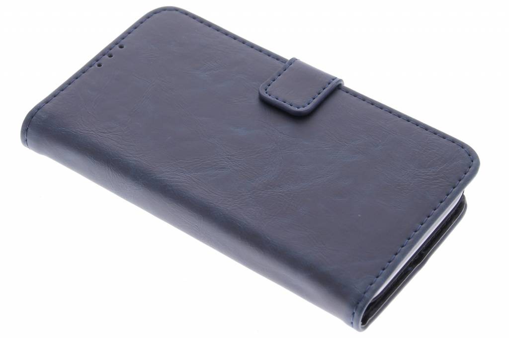 Donkerblauwe luxe leder booktype hoes voor de Huawei Y5