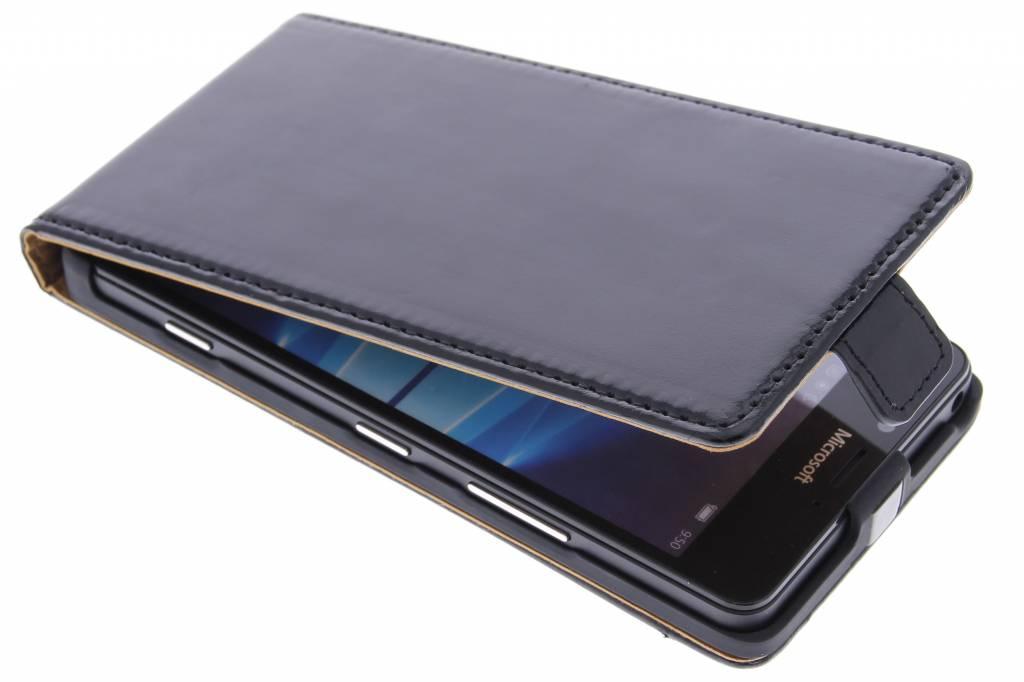 Zwarte luxe leder flipcase Microsoft Lumia 950