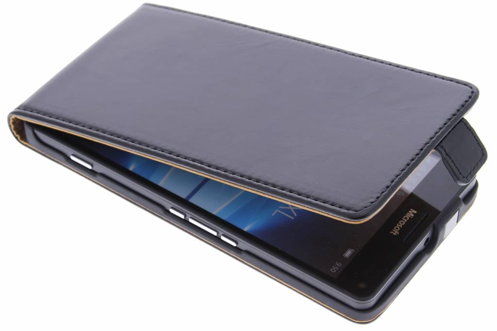 Zwarte luxe leder flipcase voor de Microsoft Lumia 950 XL
