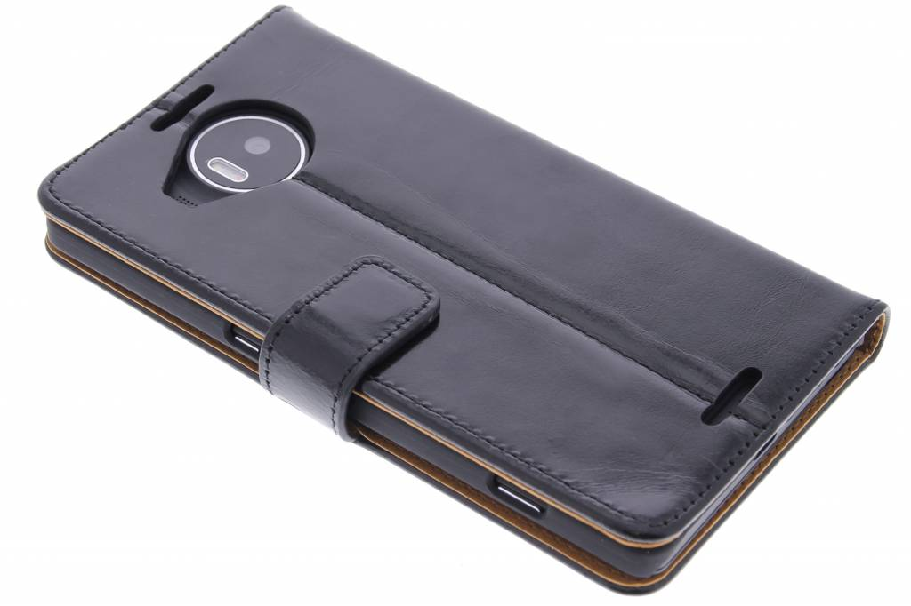 Selencia Zwarte luxe leder booktype hoes voor de Microsoft Lumia 950 XL