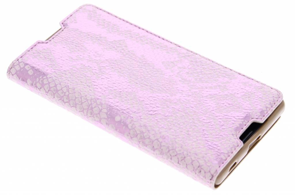 Roze luxe slangen TPU booktype hoes voor de Sony Xperia Z5