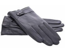 Echt lederen touchscreen handschoenen met drukknoop