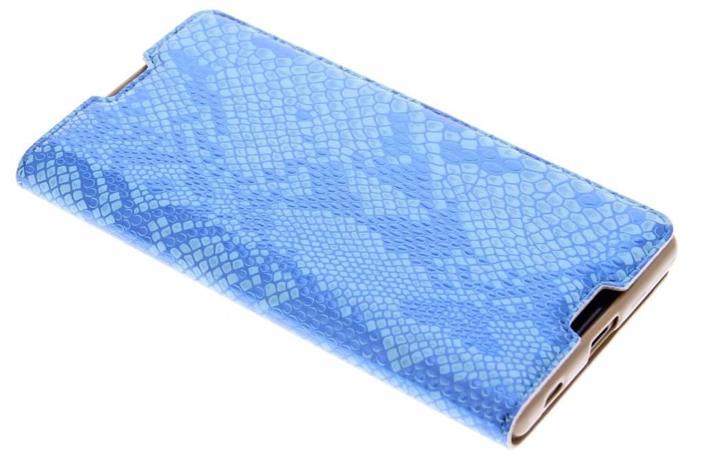 Blauwe luxe slangen TPU booktype hoes voor de Sony Xperia Z5