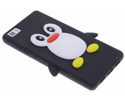 Zwart pinguin siliconen hoesje Huawei P8 Lite
