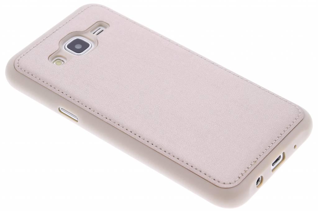 Goud metallic lederen TPU case voor de Samsung Galaxy J5