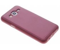 Rood metallic lederen TPU case Samsung Galaxy J5