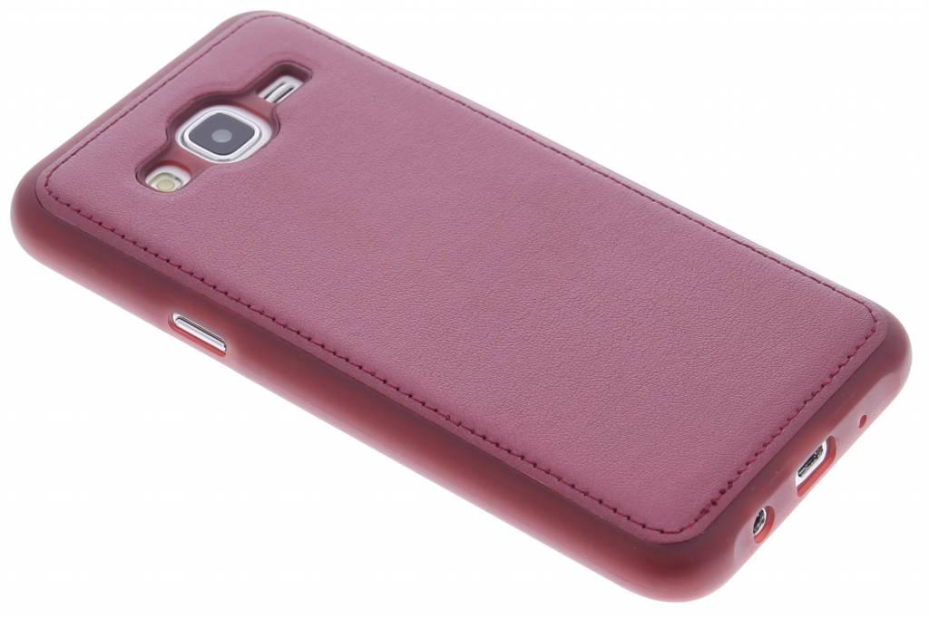 Rood metallic lederen TPU case voor de Samsung Galaxy J5