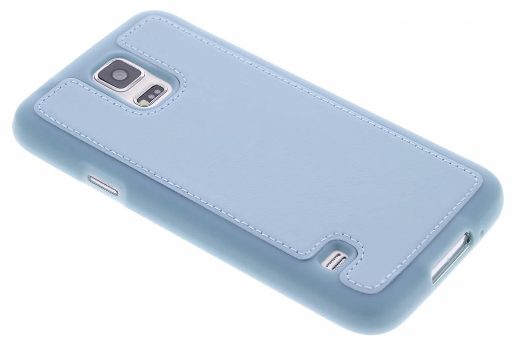 Blauw lederen TPU case voor de Samsung Galaxy S5 (Plus) / Neo