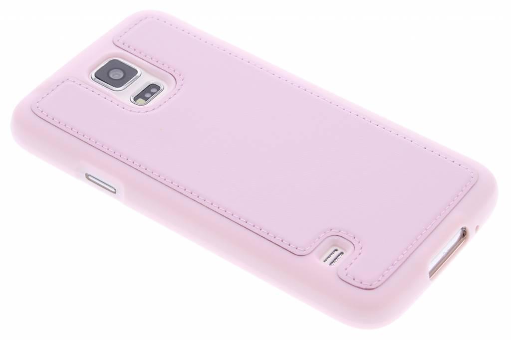Roze lederen TPU case voor de Samsung Galaxy S5 (Plus) / Neo