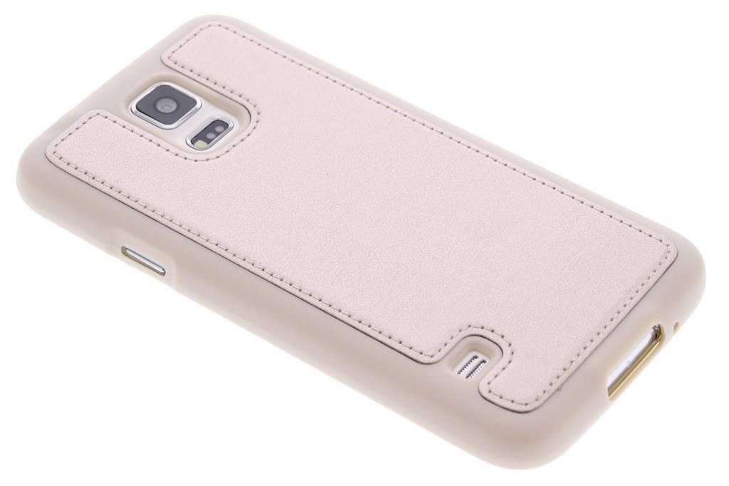 Goud metallic lederen TPU case voor de Samsung Galaxy S5 (Plus) / Neo