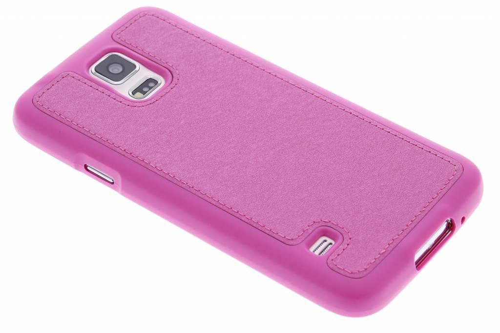 Fuchsia metallic lederen TPU case voor de Samsung Galaxy S5 (Plus) / Neo