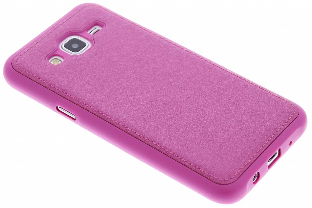 Fuchsia metallic lederen TPU case voor de Samsung Galaxy J5