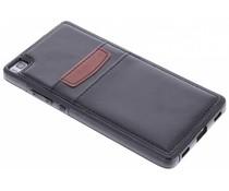 Zwart lederen backcover met vakjes Huawei P8