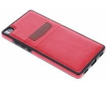 Rood lederen backcover met vakjes Huawei P8