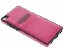 Fuchsia lederen backcover met vakjes Huawei P8