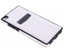Wit lederen backcover met vakjes Huawei P8