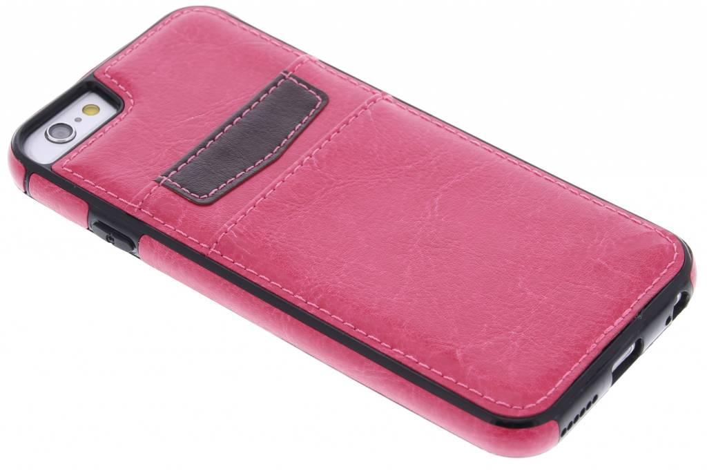 Fuchsia lederen backcover met vakjes voor de iPhone 6 / 6s