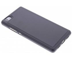 Zwart lederen TPU case Huawei P8 Lite