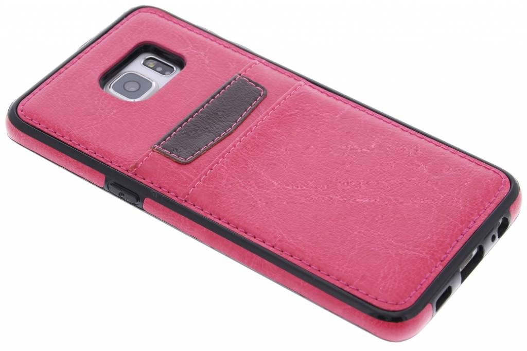 Fuchsia lederen backcover met vakjes voor de Samsung Galaxy S6 Edge Plus