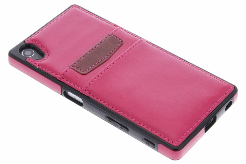 Fuchsia lederen backcover met vakjes voor de Sony Xperia Z5