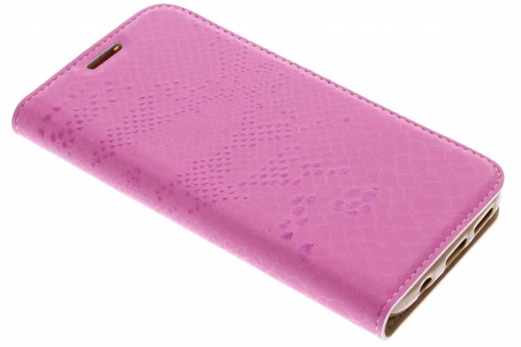 Fuchsia luxe slangen TPU booktype voor de Samsung Galaxy S7