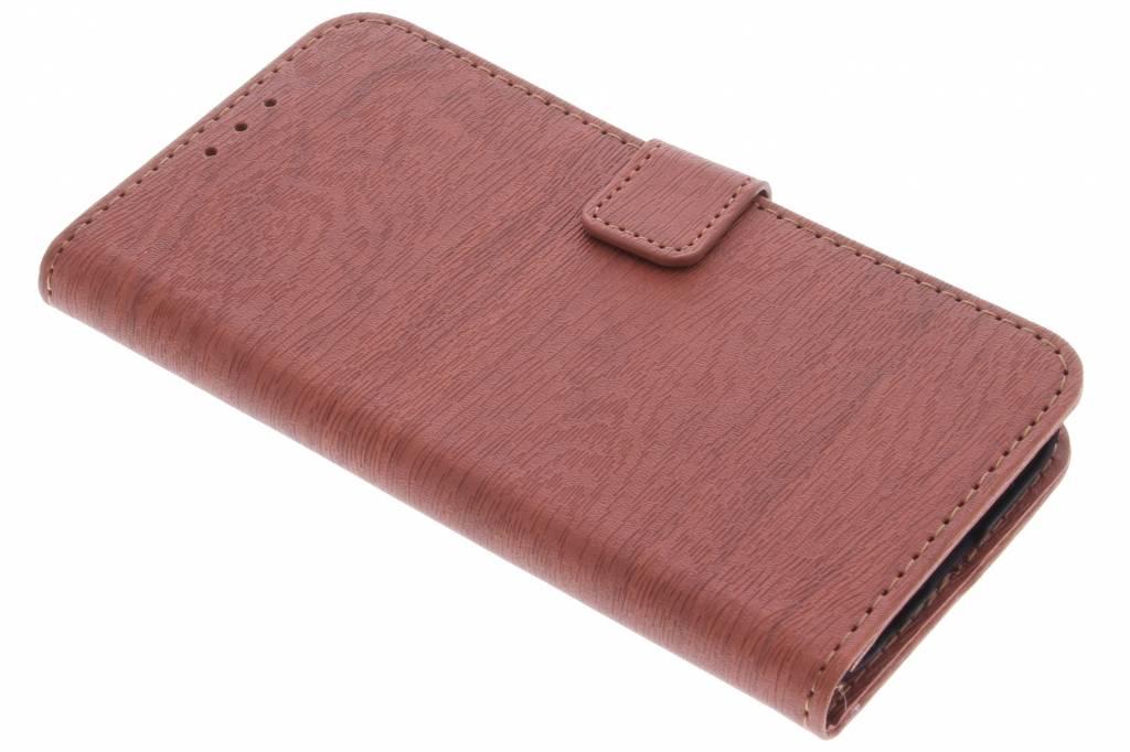 Bruine luxe hout design booktype hoes voor de Samsung Galaxy S7