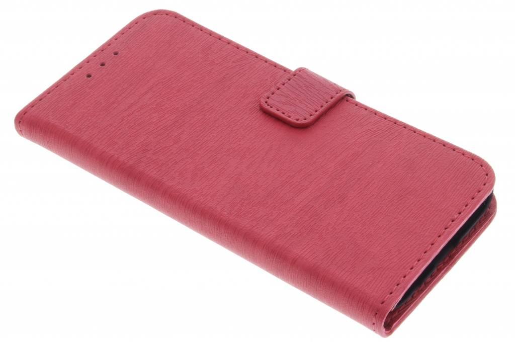 Rode luxe hout design booktype hoes voor de Samsung Galaxy S7