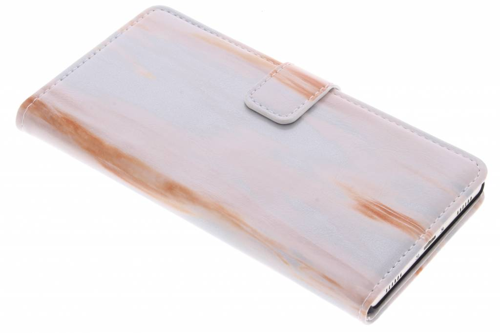 Oranje marmer booktype hoes voor de Huawei P8