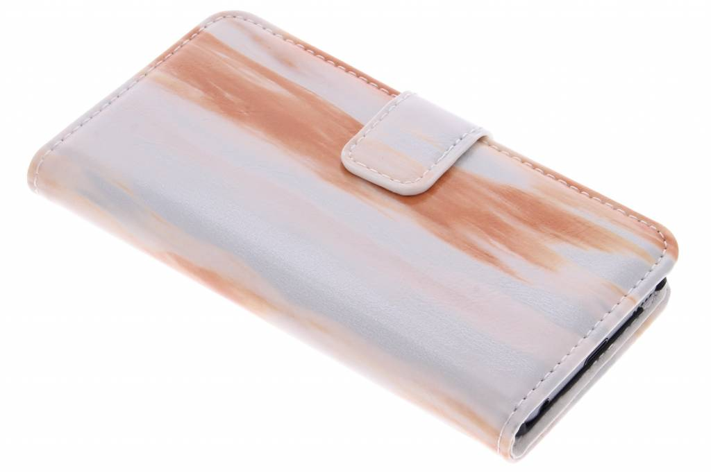Oranje marmer booktype hoes voor de iPod Touch 5g / 6