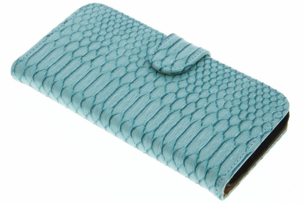 Turquoise slangen booktype hoes voor de Samsung Galaxy S7