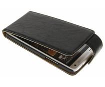 Zwart washed lederen flipcase HTC One Mini