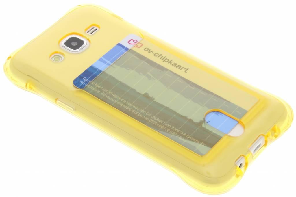 Geel TPU hoesje met vakje voor de Samsung Galaxy J5
